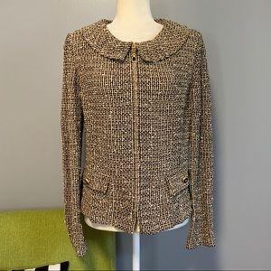 St. John Collection Tweed Knit Zip Blazer Jacket